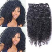 Foxys' Hair Brazilian Afro Kinky Curly Clip In Hair Extensions Virgin Human Hair Clip Ins Full Head Set 200g 9Pcs Natural colour 36cm