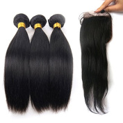 Soft Virgin Brazilian Human Straight Hair 3 Bundles with Free Part 4x 4 Silk Base Closure