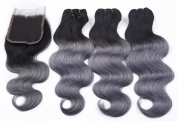 8A Grade Ombre Brazilian Virgin Remy Hair Extensions Black Dark Grey Human Hair Weave 3 Bundles With Lace Closure -16 16 18+30cm