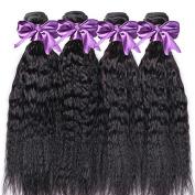 Foxys' Hair 7A Mongolian Kinky Straight Virgin Hair Coarse Yaki Human Hair Weaves Extensions Italian Yaki 3 Bundles