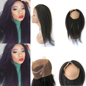 Unprocessed Virgin Peruvian 360 Lace Frontal Band with Adjustable Straps Italian Yaki 360 Human Hair Closures Natural Hairline