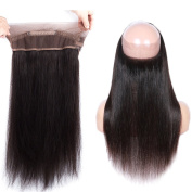 GEFINE Hair Brazilian Virgin Hair 360 Lace Band Frontal Lace Frontal Closure with Baby Hair Free Part Straight Human Hair Natural Colour 25cm