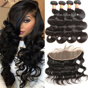 Moxika Hair 8A Grade Brazilian Lace Frontal Closure With 3/4 Bundles Body Wave Full Frontal Lace Closure 13x4 Mink Brazilian Human Hair Weave Bundles