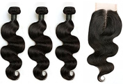 "BLISSHAIR Virgin Human Hair Bundles with 3.5""X4"" Lace Closure Body Wave"