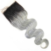 Secrect Stylist 10cm x 10cm Lace Top Closure (18 inchs) Brazilian 100 Percent Virgin Human Hair Lace Top Closure Ombre Body Wave Remy Human Hair Extensions 30cm To 46cm Black and Grey Middle Part
