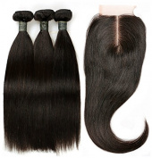 "BLISSHAIR Virgin Human Hair Bundles with 3.5""×4"" Lace Closure Straight Wave"