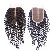 Prida Star Grade 7A Middle Part Peruvian Kinky Curly Virgin Human Hair 4X4 Lace Closure With Baby Hair