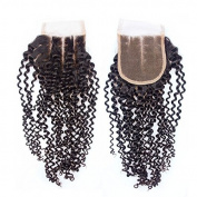 Prida Star Grade 7A Brazilian Kinky Curly Virgin Human Hair 4x 4 3 Part Lace Closure With Baby Hair