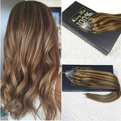 Sunny Blonde Mixed Brown Micro Ring Loop Remy Human Hair Extensions 60cm 50gram 1g/strand Silky Straight Micro Beads Hair Extensions