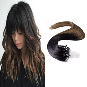 Sunny Ombre Loop Micro Ring Remy Human Hair Extensions Black to Brown Unprocessed Human Hair Extensions 50g 60cm 1g/strand