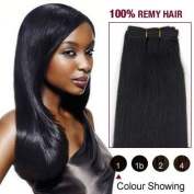 25cm Jet Black(#1) Light Yaki Indian Remy Hair Wefts 100% Real Human Hair Extensions