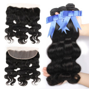 GEFINE hair Lace Frontal Closure with Bundles Peruvian Body Wave 7a Real Unprocessed Virgin Human Hair Weave Extensions 3 Bundles with Lace Frontal Closure 16 16 16+41cm