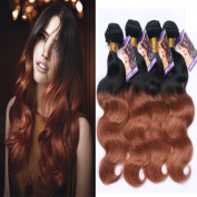 Kapelli Hair (TM) 6A Ombre Hair Extensions Ombre Brazilian Body Wave Virgin Hair 2 Tone 1B#30# Human Hair Weave 4 Bundles
