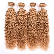 Yami 7A Grade Brazilian Curly Hair 4PCS Lot Brazilian Curly Virgin Hair Weaves, Brazilian Jerry Curl Virgin Hair with Top Lace Closure Blonde 27#