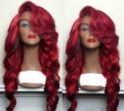 ATOZHair Fashion Lace Front Long Wave Synthetic Wig Red High Temperature Fibre