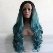 ATOZHair Fashion Lace Front Long Nature Wave Synthetic Wig Omber Black to Turquoise High Temperature Fibre