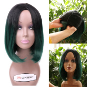 HANNE Bob Wigs Ombre Colour Wig Skin Top Wig Short Straight Synthetic Wig for Women Cosplay Party Wigs