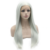 Mxangel 60cm Long Straight Light Blue Synthetic Hair Lace Front Wig