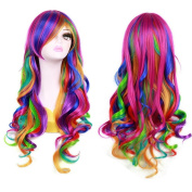 Beauty Star 70cm Long Rainbow Big Wavy Ombre Spring Bouquet Cosplay Party Wig Harajuku Style Lolita Spiral Colourful Heat Resistant Fibre Synthetic Wig with Wig Comb