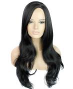 FEOYA Womens Girls Long Curly Wig 80cm Loose Wave Full Length Black