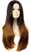 FEOYA Womens Girls Wig 60cm Long Straight Full Length 2 Tones Light Brown