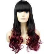 FEOYA Womens Girls Wavy Long Hair 70cm Curly Wig Full Length 2 Tones Wine Red