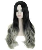 FEOYA Womens Girls Wig Hair 60cm Long Curly Big Wavy Full Length 2 Tones Light Grey