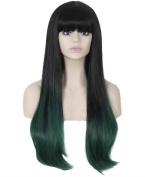 FEOYA Womens Girls Long Wig 60cm Straight with Full Bangs 2 Tones Light Green