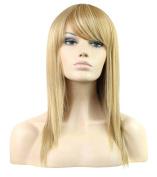 FEOYA Womens Girls Short Hair 70cm Straight Wig with Bangs Shoulder Length Blond