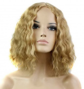 FEOYA Womens Girls Short Wig 30cm Bob Curly Shoulder Length Fluffy Wavy Blond