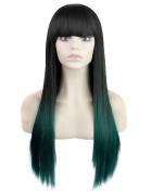 FEOYA Womens Girls Long Straight Hair 70cm Wig with Full Bangs 2 Tones Light Green