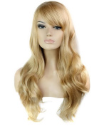 FEOYA Womens Girls Curly Wig 80cm Long Big Wavy with Bangs Full Length Blond