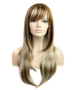FEOYA Womens Girls Straight Hair 70cm Wig with Bangs Full Length Light Blond