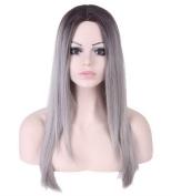 FEOYA Womens Girls Hair 70cm Long Straight Cosplay Wig Ash Grey