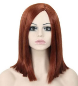 FEOYA Womens Girls Straight Short Hair 36cm Wig Shoulder Length Orange