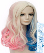 ATOZHair Halloween Cosplay Wig for Woman Multi-Colour Long Curly Wave Synthetic Ponytail Mix Blonde Blue Pink
