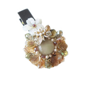 "Hanabe ""Kakis"" Handmade Gorgeous beaded mother of pearl crystal hairclip hairpin"