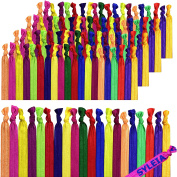 Syleia 100 Hair Ties - Fruit Medley - Elastic Ponytail Holders No Crease Hand Knotted Fold Over Assorted 100 Pack