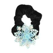 GSM Accessories Womens Girls Rhinestone Alloy Flower Velvet Ponytail Holders Hair Accessories PH026-Blue