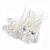 WINOMO 20pcs Women's Wedding Crystal Rhinestone U-Shaped Metal Hairpins