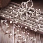 Pearl/ Crystal Bridal Wedding Hair Pin/hairband + Free Top-ishop Cable Tie