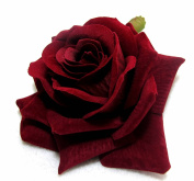 Dark Red Velvet Rose Hair Flower Clip and Pin Silk Rose Flower Hair Clip Bridal Wedding
