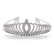 Uarter Princess Tiara Rhinestone Crystal Wedding Bridal Headband Princess Crown with Comb