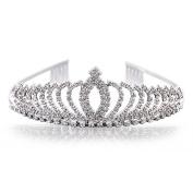 Uarter Princess Tiara Rhinestone Crystal Wedding Bridal Headband Princess Crown with Comb