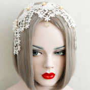 Hand Made Aesthetic Bride Lace Crown Pearl Hairbands Wide Bohemia Hair Accessory Girl Formal Evening Party Headband