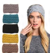 Ewandastore Women's Three Rows Twist Wave Knitted Winter Warm Hat Headgear Crochet Flora Headband Head Wrap Hair Band Hairband Black