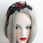 Halloween Personality Fashion Exotic Style Woman Black Lace Red Rhinestone Hairbands The Queen Van Christmas Hair Accessories
