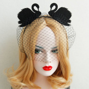 Chrismas Party Queen Black Swan Gauze Hairbands Hand Made Night Club Halloween Hair Accessories Woman Travel Photo Headbands