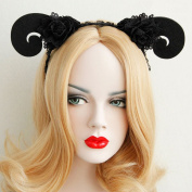 Black Flower Halloween Party Queen Hairbands Hand Made Night Club Sheep Hair Accessories Woman Travel Photo Headbands