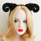 Black Flower Halloween Party Queen Hairbands Hand Made Night Club Sheep Hair Accessories Woman Travel Photo Headbands